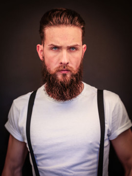 Vintage beard and retro haircut